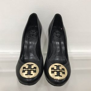 Tory Burch Black Leather Wedges Shoe 6